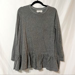 The Great Grey Long Sleeve Peplum Pullover Sweater